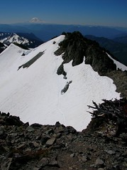 this is a shot of the last sketchy snow traverse before the summit block
