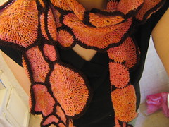 wearing crochet scarf - dangled