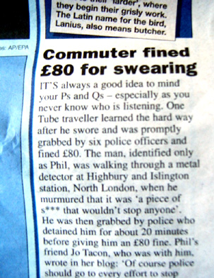 Commuter Fined for Swearing - Metro