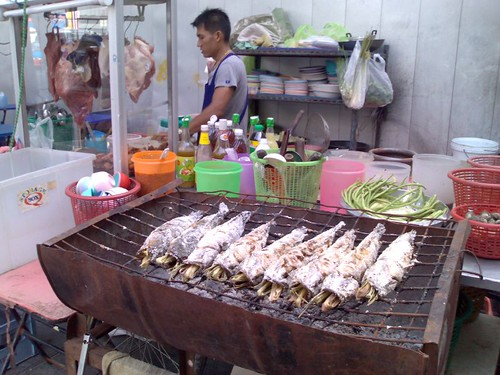 Barbequed fish on the street