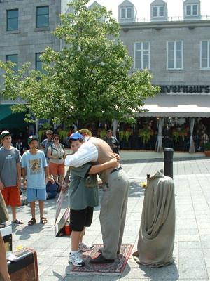 Giving a hug