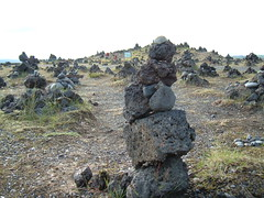 Rock balancing at Laufskálavarða