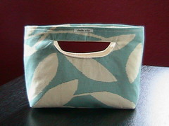 handmade tote, blue with off-white leaves