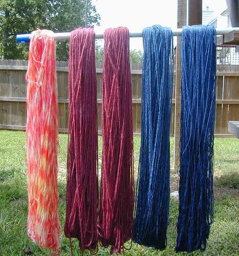 Dyed Wool - hanging to dry