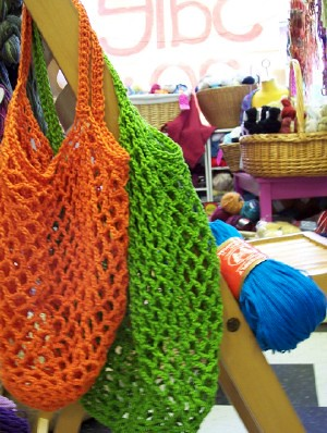 Free Crochet Patterns For Grocery Bags : frayed at the edges: FREE: Crochet Grocery Bag Pattern