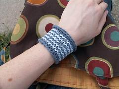 stripey circular knitted wrist cuff