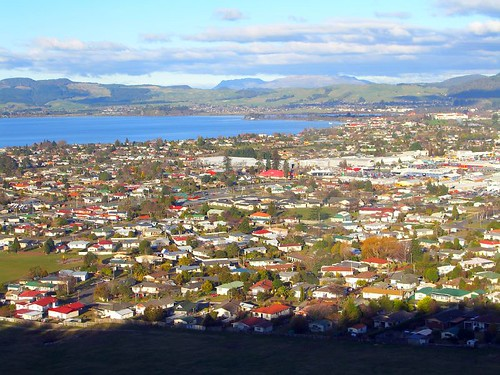 Rotorua的湖泊山川景色