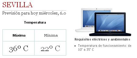 Temperatura de uso de un MacBook en Sevilla