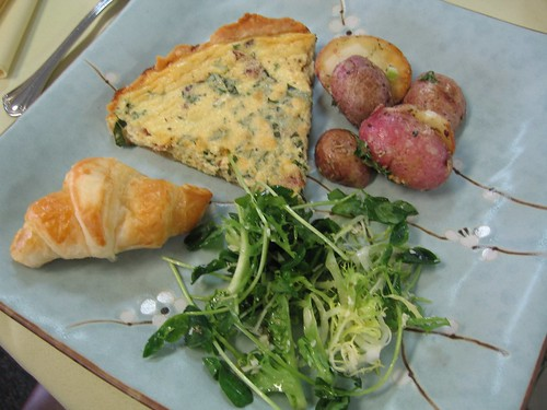 quiche, potatoes and salad