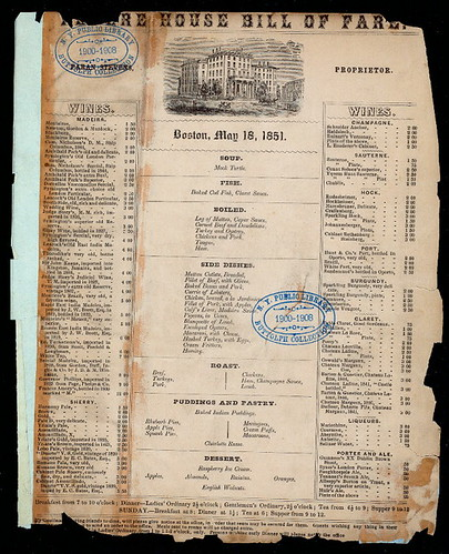 menu revere house 1851