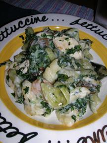 Chicken Spinach Alfredo Sconcigli