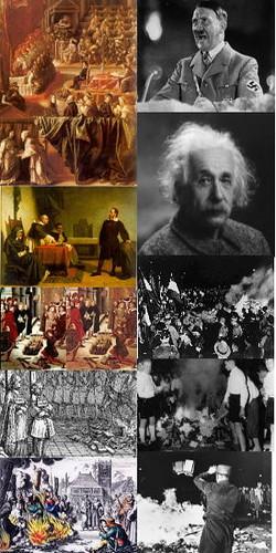 論證「地動說」的伽里略被視作異端,跟受火刑的女巫同流。西特勒焚書坑儒。
