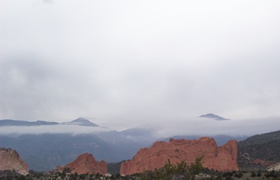 Pikes Peak through the clouds