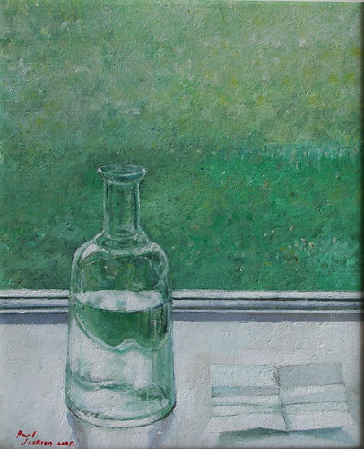 Bottle and Paper (oil on board)