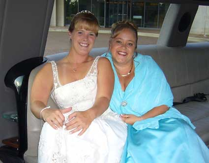 Kelly and Dana in the limo