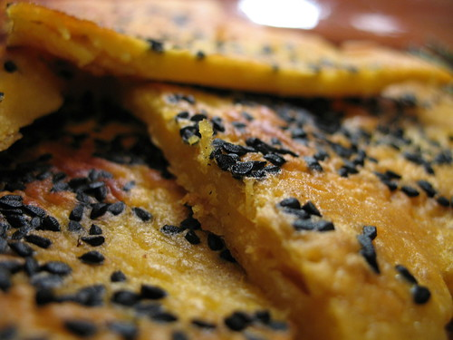close-up of chickpea flour pancakes
