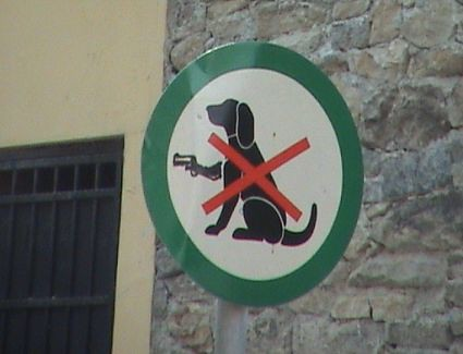 no dogs with guns