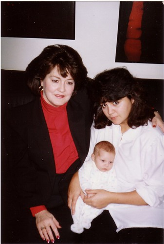Mom and I, with Cleo at 6 weeks old