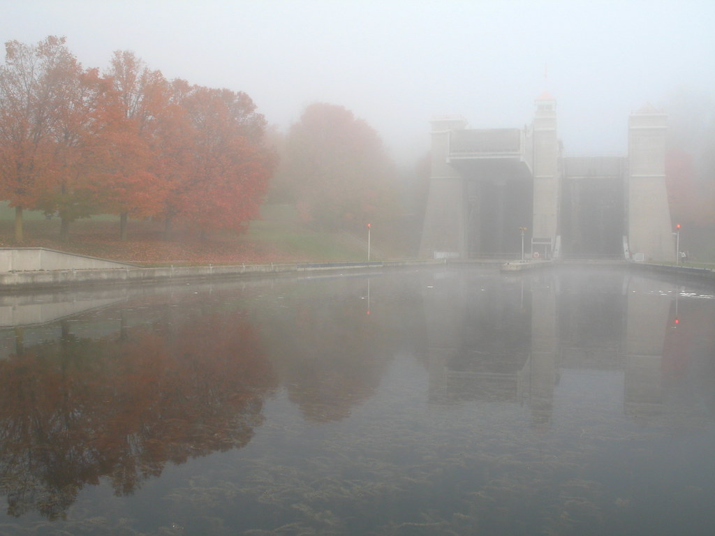 Lift Lock shrouded in fog