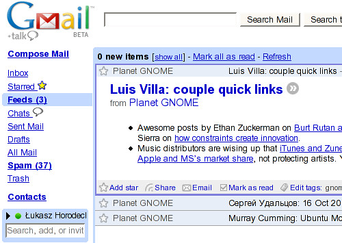 Gmail + Google Reader