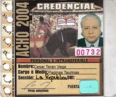 Credencial de prensa Acho 2004