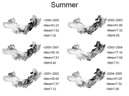 vegetation_change_detection in summer from 1999 to 2005