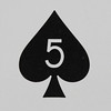 Round Playing Card 5 of Spades