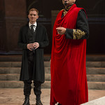 Scott Parkinson (Cassius) and Madrid St. Angelo (Caesar) in JULIUS CAESAR at Writers Theatre. Photo by Michael Brosilow.