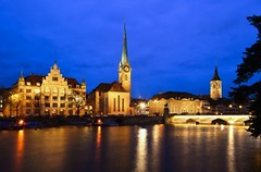 Zurich skyline with Limmat river, Fraumünster Abbey & Münsterbrücke bridge photo by Sir Francis Canker Photography ©