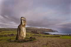 Monolithic Moai Statue At Ahu Tongariki, Easter Island, Chile photo by Eric Lafforgue