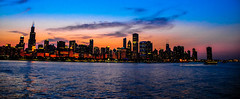 Panoramic view of Chicago Skyline along Lake Michigan at Sunset photo by mbell1975
