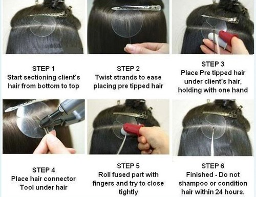 The step of hot fusion hair extension