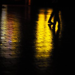 Helsinki. wet path, electric light yellow, broken shadows. photo by Tunguska RdM