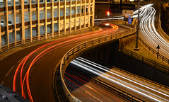 Light trails 2 Up to Swan House Roundabout photo by wellsyboots