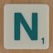 Scrabble Green Letter N