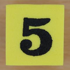 Foam Yellow Dice Number 5