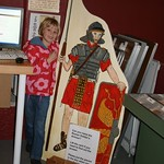 Emma with a picture of a roman soldier<br/>17 Nov 2012
