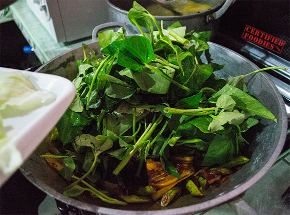 Add kangkong, cabbage and pechay - beef kare-kare recipe