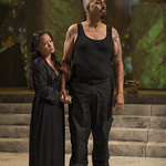 Christine Bunuan (Calphurnia) and Madrid St. Angelo (Caesar) in JULIUS CAESAR at Writers Theatre. Photo by Michael Brosilow.