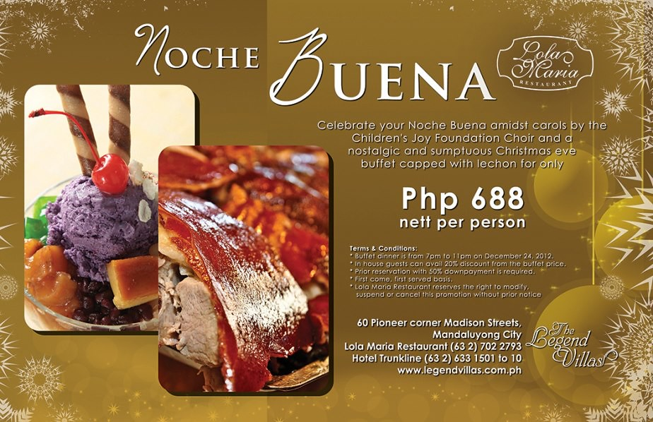 The Legend Villas Lola Maria Restaurant Noche Buena dinner buffet
