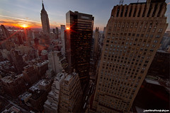 NYC Sunset from a midtown manhattan rooftop photo by Jason Pierce Photography
