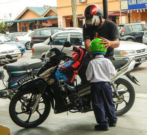 Father and Son Motorcycling