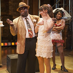 James Earl Jones II (Herman), Tiffany Topol (Charity) and Karen Burthwright (Nickie) in SWEET CHARITY at Writers Theatre. Photo by Michael Brosilow.