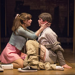 Tiffany Topol (Charity) and Jarrod Zimmerman (Oscar) in SWEET CHARITY at Writers Theatre. Photo by Michael Brosilow.