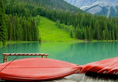 Emerald Lake and Red Canoes photo by Cole Chase Photography