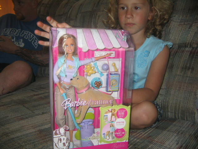 The barbie that came with the pooping dog named TANNER!