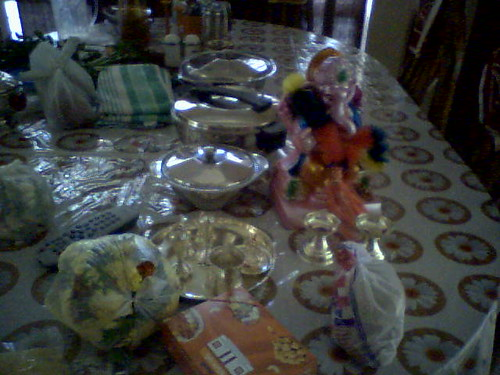 Preparing for the puja