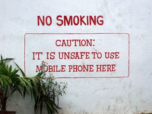 No smoking! Unsafe to use mobile phones!