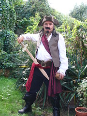 capt long john tofu of the pirates of the carob bean about to do battle on let's talk like a pirate day