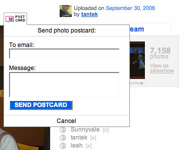 'Send photo postcard:' dropdown dialog